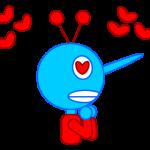 Blue Tengu in Love Line Stamp